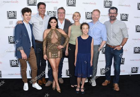 "Stock Image of The cast of ""Modern Family"", from left, Nolan Gould, Steve Levitan, Ariel Winter, Eric Stonestreet, Julie Bowen, Aubrey Anderson-Emmons, Jesse Tyler Ferguson and Ty Burrell arrive at the ""Modern Family"" FYC Event on in Los Angeles"