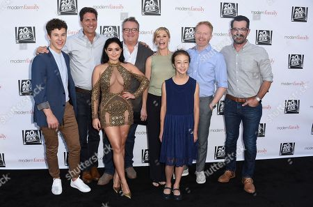 "The cast of ""Modern Family,"" from left, Nolan Gould, Steve Levitan, Ariel Winter, Eric Stonestreet, Julie Bowen, Aubrey Anderson-Emmons, Jesse Tyler Ferguson and Ty Burrell arrive at the ""Modern Family"" FYC Event, in Los Angeles"