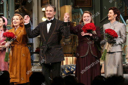 """Kate Burton, from left, Kevin Kline, Kristine Nielsen and Cobie Smulders appear on stage at the opening night curtain call of """"Present Laughter"""" at the St. James Theatre, in New York"""