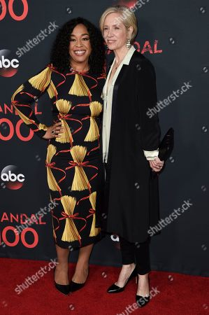 """Shonda Rhimes, left, and Betsy Beers attend the """"Scandal"""" 100th Episode Celebration at Fig & Olive, in West Hollywood, Calif"""
