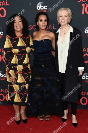 """Shonda Rhimes, from left, Kerry Washington and Betsy Beers attend the """"Scandal"""" 100th Episode Celebration at Fig & Olive, in West Hollywood, Calif"""