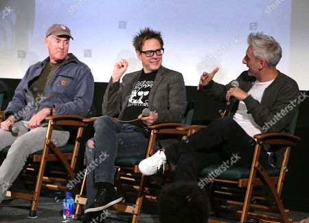 John C. McGinley, from left, James Gunn, and Greg McLean attending the Employee Appreciation Day Screening of THE BELKO EXPERIMENT at The Aero Theater in Los Angeles