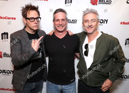 James Gunn, from left, John Hegeman, and Greg McLean attending the Employee Appreciation Day Screening of THE BELKO EXPERIMENT at The Aero Theater in Los Angeles