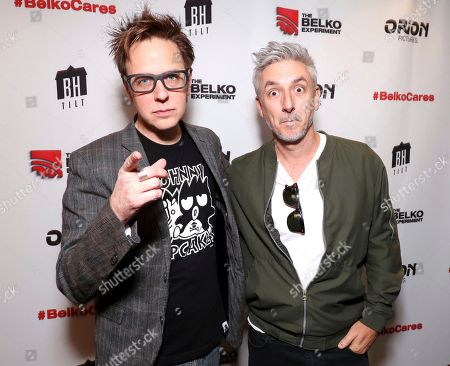 James Gunn, left, and Greg McLean attending the Employee Appreciation Day Screening of THE BELKO EXPERIMENT at The Aero Theater in Los Angeles
