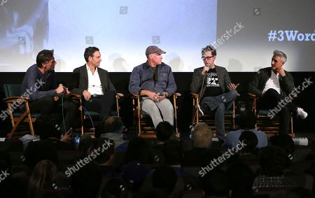 Geoff Boucher, from left, Tony Goldwyn, John C. McGinley, James Gunn, and Greg McLean attending the Employee Appreciation Day Screening of THE BELKO EXPERIMENT at The Aero Theater in Los Angeles