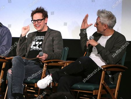 Stock Image of James Gunn, left, and Greg McLean attending the Employee Appreciation Day Screening of THE BELKO EXPERIMENT at The Aero Theater in Los Angeles