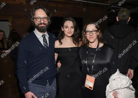 """Actress Jenny Slate, center, poses with directors Wallace Wolodarsky, left, and Maya Forbes attend """"The Polka King"""" cast party at Chase Sapphire on Main on in Park City, Utah"""