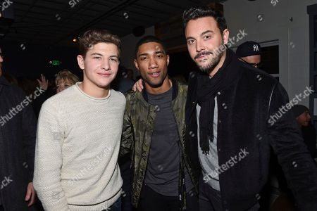 """Actors Tye Sheridan, left, Carter Redwood and Jack Huston pose together at """"The Yellow Birds"""" cast party hosted by Chase Sapphire on in Park City, Utah"""