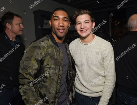 """Actors Carter Redwood, left, and Tye Sheridan attend """"The Yellow Birds"""" cast party at Chase Sapphire on Main on in Park City, Utah"""