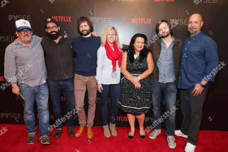 Cinematographer Tim Ives, Production Designer Chris Trujillo, Set Designer Jess Royal, Moderator Jenelle Riley Writer/Director/Exec. Producer Matt Duffer, Writer/Director/Exec. Producer Ross Duffer and Visual Effects Supervisor Marc Kolbe at 'Stranger Things' Breakfast panel Q&A at Netflix FYSee exhibit space, in Los Angeles, CA