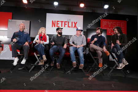 Visual Effects Supervisor Marc Kolbe, Set Designer Jess Royal, Production Designer Chris Trujillo, Cinematographer Tim Ives, Writer/Director/Exec. Producer Matt Duffer and Writer/Director/Exec. Producer Ross Duffer at 'Stranger Things' Breakfast panel Q&A at Netflix FYSee exhibit space, in Los Angeles, CA