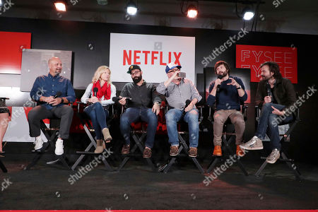 Stock Picture of Visual Effects Supervisor Marc Kolbe, Set Designer Jess Royal, Production Designer Chris Trujillo, Cinematographer Tim Ives, Writer/Director/Exec. Producer Matt Duffer and Writer/Director/Exec. Producer Ross Duffer at 'Stranger Things' Breakfast panel Q&A at Netflix FYSee exhibit space, in Los Angeles, CA