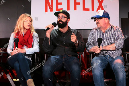 Stock Image of Set Designer Jess Royal, Production Designer Chris Trujillo and Cinematographer Tim Ives at 'Stranger Things' Breakfast panel Q&A at Netflix FYSee exhibit space, in Los Angeles, CA