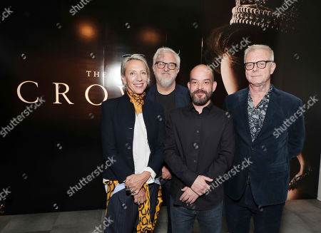 Costume Designer Michele Clapton, Production Designer Martin Childs, Cinematographer Adriano Goldman and Director Stephen Daldry seen at 'The Crown' panel Q&A at Netflix FYSee exhibit space, in Los Angeles, CA