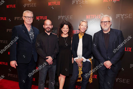 Stock Picture of Director Stephen Daldry, Cinematographer Adriano Goldman, Moderator Debra Birnbaum, Costume Designer Michele Clapton and Production Designer Martin Childs seen at 'The Crown' panel Q&A at Netflix FYSee exhibit space, in Los Angeles, CA