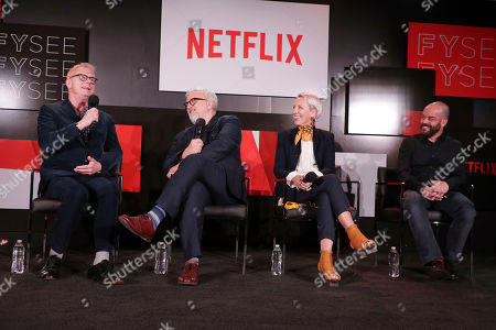Director Stephen Daldry, Production Designer Martin Childs, Costume Designer Michele Clapton and Cinematographer Adriano Goldman seen at 'The Crown' panel Q&A at Netflix FYSee exhibit space, in Los Angeles, CA