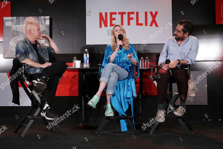 Ryan Murphy, Brit Marling and Zal Batmanglij at 'The OA' panel Q&A at Netflix FYSee exhibit space, in Los Angeles, CA