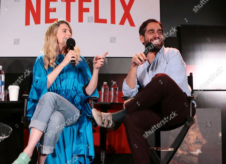 Stock Picture of Brit Marling and Zal Batmanglij at 'The OA' panel Q&A at Netflix FYSee exhibit space, in Los Angeles, CA