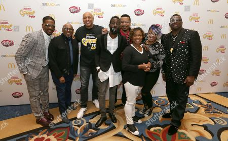 Donald Lawrence left, Paul Morton, Brian Courtney Wilson, Tye Tribbett center, Lonnie Hunter, Small Fire, Anita Wilson and Paul Porter are seen at the 11th annual McDonald's Inspiration Celebration Gospel Tour sponsored by Dr. Pepper at Greater Grace Temple on in Detroit, MI. The Inspiration Celebration Gospel Tour has raised more than $500,000 for local Ronald McDonald Houses over the years