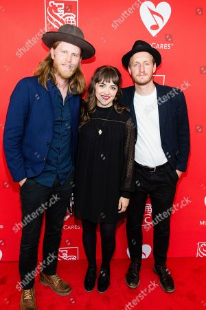Wesley Schultz, left, Neyla Pekarek, and Jeremiah Fraites, are seen at at The 13th Annual MusiCares MAP Fund Benefit Concert at The Playstation Theater, in New York