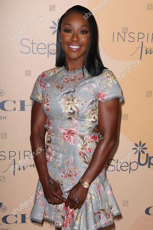 Carmelita Jeter arrives at the 14th Annual Inspiration Awards at The Beverly Hilton, in Beverly Hills, Calif
