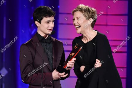 Annette Benning and Lucas Jade Zumann attend AARP's 16th Annual Movies for Grownups Awards at the Beverly Wilshire Hotel on in Beverly Hills, California