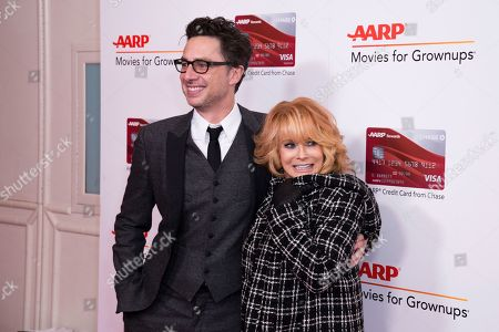 Zack Braff, left, and Ann-Margret arrive at the 16th Annual Movies for Grownups Awards at the Beverly Wilshire Hotel, in Beverly Hills, Calif