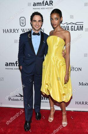 Zac Posen and Aya Jones attend the amfAR Inspiration Gala honoring Naomi Campbell and Kim Jones at Moynihan Station, in New York