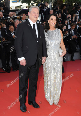 Stock Picture of Former US President Al Gore, left, and Elizabeth Keadle pose for photographers upon arrival at the 70th Anniversary of the film festival, Cannes, southern France