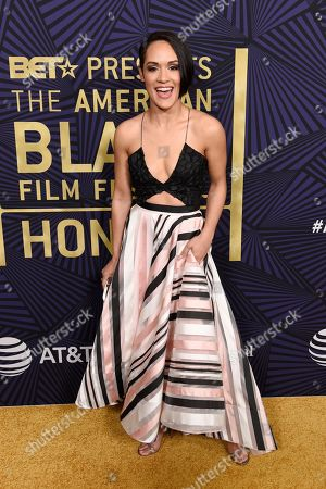 Actress Grace Byers poses at the 2017 ABFF Awards: A Celebration of Hollywood at the Beverly Hilton, in Beverly Hills, Calif