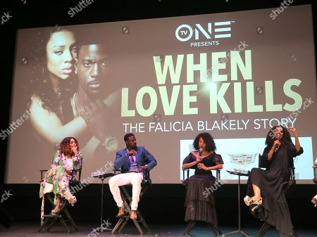 Tami Roman left, Lance Gross, Lil Mama and Tasha Smith are seen at the When Love Kills Q and A during the 2017 American Black Film Festival at Colony Theater, in Miami Beach, Florida