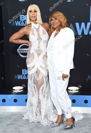 Tamar Braxton, left, and Evelyn Braxton arrive at the BET Awards at the Microsoft Theater, in Los Angeles