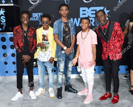 Caleb McLaughlin, from left, Jahi Di'Allo Winston, Myles Truitt, Dante Hoagland and Tyler Marcel Williams arrive at the BET Awards at the Microsoft Theater, in Los Angeles