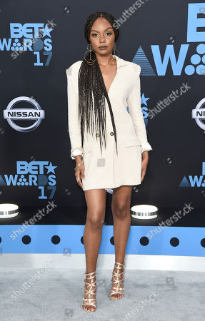 Sierra McClain arrives at the BET Awards at the Microsoft Theater, in Los Angeles