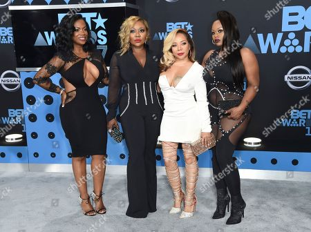 "Kandi Burruss, from left, LaTocha Scott, Tameka ""Tiny"" Cottle and Tamika Scott, of Xscape, arrive at the BET Awards at the Microsoft Theater, in Los Angeles"