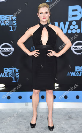 Katherine Bailess arrives at the BET Awards at the Microsoft Theater, in Los Angeles