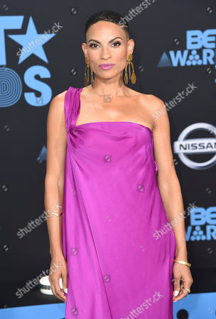 Goapele arrives at the BET Awards at the Microsoft Theater, in Los Angeles