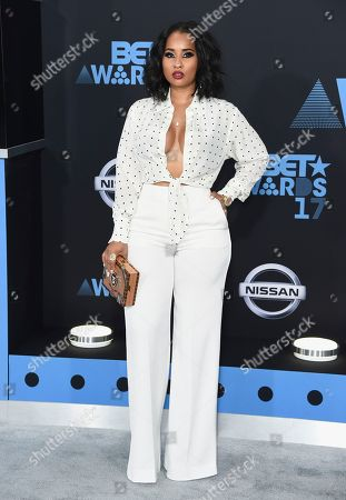Tammy Rivera arrives at the BET Awards at the Microsoft Theater, in Los Angeles