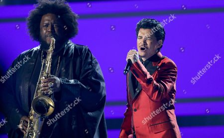 "Stock Image of Kamasi Washington, left, and El DeBarge perform ""Careless Whisper"" at the BET Awards at the Microsoft Theater, in Los Angeles"