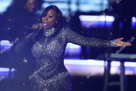 Tamika Scott, of Xscape, performs at the BET Awards at the Microsoft Theater, in Los Angeles