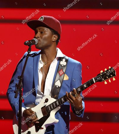 """Stock Picture of Roman Gianarthur performs """"Johnny B. Goode"""" at the BET Awards at the Microsoft Theater, in Los Angeles"""