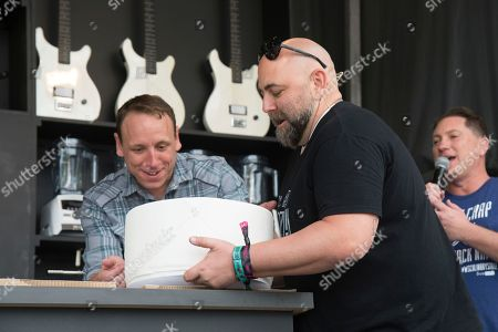 Joey Chestnut, left, and Duff Goldman seen at BottleRock Napa Valley Music Festival at Napa Valley Expo, in Napa, Calif