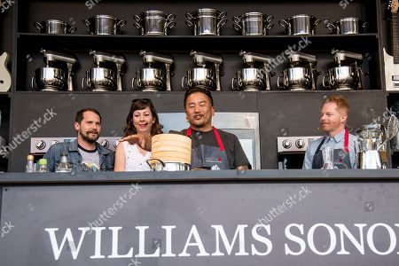 Brian Aubert, from left, Nikki Monninger, of the Silversun Pickups, Roy Choi, and Jesse Tyler Ferguson seen at BottleRock Napa Valley Music Festival at Napa Valley Expo, in Napa, Calif
