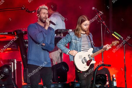 Adam Levine, left, and James Valentine of Maroon 5 perform at BottleRock Napa Valley Music Festival at Napa Valley Expo, in Napa, Calif
