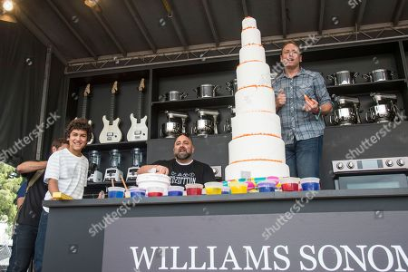 Justice Faustina, from left, Duff Goldman, and Joey Chestnut seen at BottleRock Napa Valley Music Festival at Napa Valley Expo, in Napa, Calif