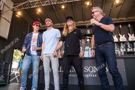 Miles Teller, left, Jared Watson, Dustin Bushnell of the Dirty Heads and Tim Love seen at BottleRock Napa Valley Music Festival at Napa Valley Expo, in Napa, Calif