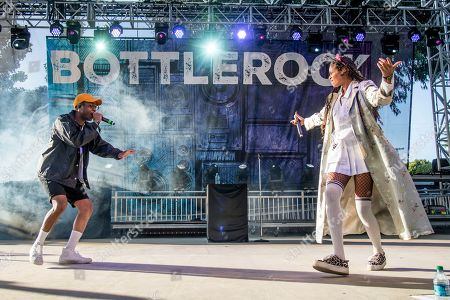 Pell, left, and AlunaGeorge perform at BottleRock Napa Valley Music Festival at Napa Valley Expo, in Napa, Calif