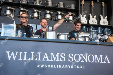 Matt Sorum, from left, Richard Blais, and Tory Belleci seen at BottleRock Napa Valley Music Festival at Napa Valley Expo, in Napa, Calif