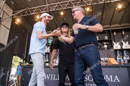 Stock Photo of Jared Watson, from left, and Dustin Bushnell of the Dirty Heads and Tim Love seen at BottleRock Napa Valley Music Festival at Napa Valley Expo, in Napa, Calif