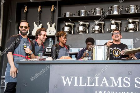 James King, from left, Joseph Karnes, Noelle Scaggs, Charles Bradley and Chris Cosentino seen at BottleRock Napa Valley Music Festival at Napa Valley Expo, in Napa, Calif